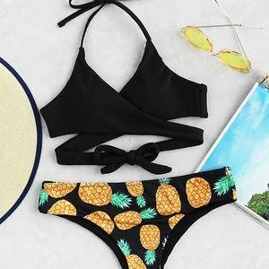 Other - Pineapple Print Wrap Bikini
